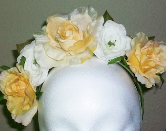 Sweet Simplicity - soft yellow and white floral crown - festival, fairy, costume, wedding
