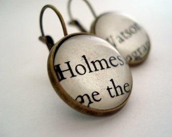 Holmes and Watson Earrings, Gift For Her, Novel Earrings