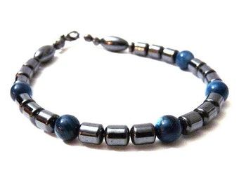 Mens Bracelet - Hematite with a touch of blue - Gray and Blue unisex bracelet - stone