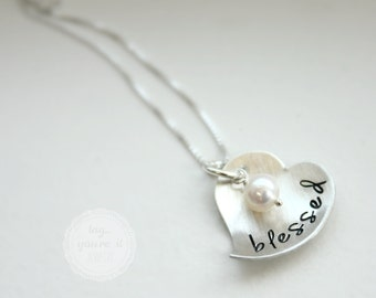 Personalized Name Necklace, Inspirational Blessed heart sterling silver with freshwater pearl, Baptism