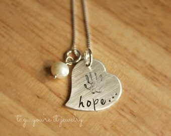 Remembrance Necklace - Hope Necklace - Child or Baby Handprint - Infertility or Loss Necklace - Memorial Jewelry