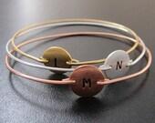 3 Initial Monogram Bracelet Set, Monogram Initial Bracelets, Gold, Silver, Copper, 3 Initial Bracelets, Tricolor Bracelets, Tricolor Jewelry