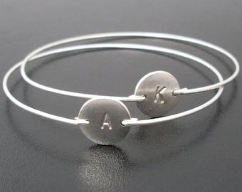 Silver Initial Bracelet, Silver Monogram Bracelet, Silver Bracelet Personalized, Silver Bracelet Bangle, Frosted Willow, Custom Bracelet