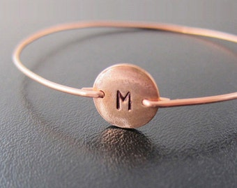 Copper Bracelet, Womens Copper Jewelry, Handmade Copper Bangle Bracelet, Hand Stamped Jewelry Hand Stamped Bracelet, Initial Bangle Bracelet