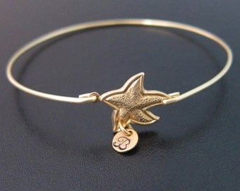 Starfish - Personalized Bracelet with Initial, Jewelry for Beach Bridesmaids, Gift for Her Under 30