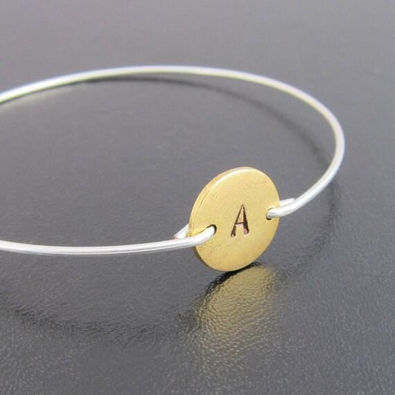 Two Tone Bracelet, Initial Bangle Bracelet, Gold and Silver Bracelet, Two Tone Jewelry, Silver and Gold Bracelet