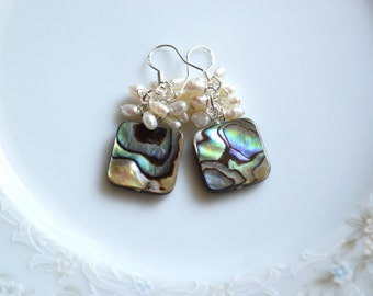 Abalone and freshwater pearl dangle earrings, abalone jewelry, beach wedding, wedding earrings, paua shell jewelry