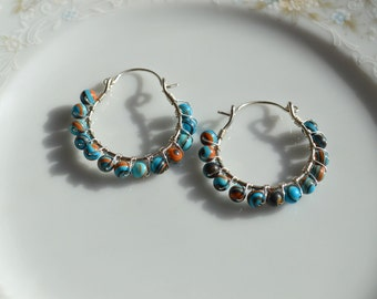Calsilica and sterling silver wire wrapped hoop earrings, calsilica earrings, calsilica jewelry