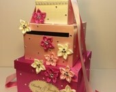 Hot pink n light pink Wedding Card Box Gift Card Box Money Box Holder--Customize your color