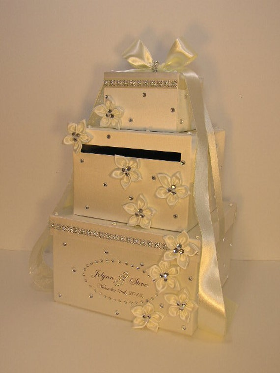 Wedding Gift Card Box Uk : Ivory Wedding Card Box Gift Card Box Money Card Box Holder-Customize ...