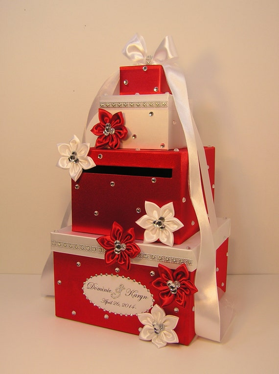 Wedding Card Box Red and White Gift Card Box Money Box – Red Wedding Card Box