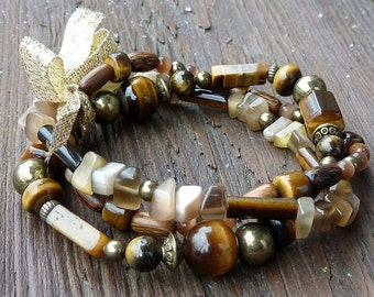 Tigereye Stretch Bracelet Trio - Tigereye Beads, Brown Catseye Chips, Gold Bow