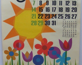 Vintage May 1972 calendar poster