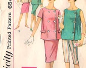 60s Maternity Top, Peddle Pushers, Skirt Simplicity 3967 Vintage Pattern Bust 32