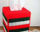 Christmas Needlepoint Kleenix Tissue Box Cover, Holiday Decor, Red, Green White Yarn (723-13)