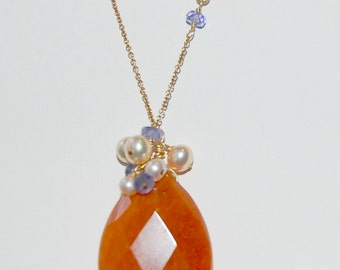 Carnelian Quartz, Tanzanite and Pearl 14k Gold Filled Necklace