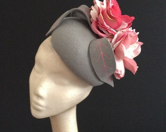 Grey Felt with silk flowers - Great felt hat perfect for a wedding or the races, can be made in other colours