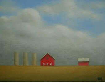 "FARM PAINTING 8 x 10""  Country ORIGINAL Barn Silo  Acrylic Landscape Fine Art Gift Wedding Anniversary Birthday Husband Gift Folk Rustic"