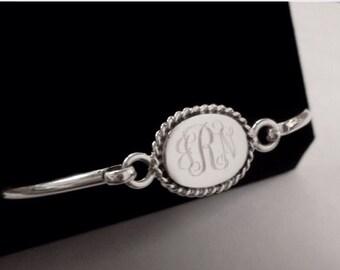 Engraved Sterling Silver Round Bangle, Personalized Silver Bracelet, Monogrammed Initial Bracelet, Silver Name Bracelet, Graduate, Wedding