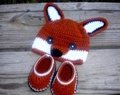 Baby Fox Hat and Booties Set