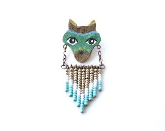 Fox Totem Pin - animal totem brooch, hand painted jewelry, seed bead jewelry, woodland art jewelry, animal badge, blue fox