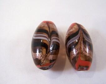FREE SHIPPING - 2 pcs Handmade Lampwork Beads (#1920-1)