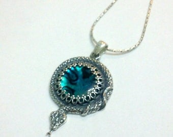 snake necklace silver abalone special gift - on sale - was 50