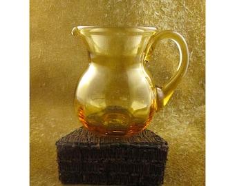 Fluted Amber Glass Vintage Creamer Pitcher
