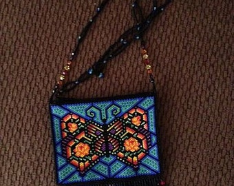 Stain Glass Beaded Butterfly Purse Necklace
