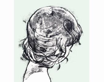 Illustration, Ballerina, Art Print, Wall Decor, Print, Illustration Print, Nursery Art Print, Girl Drawing, Ink Drawing, Aqua, Monotype