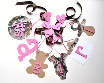 Realtree Camo baby shower decorations pink It's a girl banner by ParkersPrints on Etsy