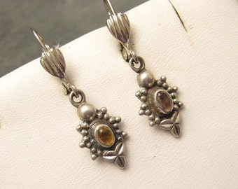Sterling Dangley Earrings Yellow Stone