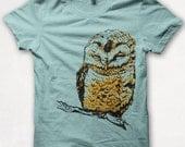Womens Graphic Tee Shirt, Owl Shirt, Screenprint Tshirt, Graphic Tee For Women, Fitted Bird Shirt - Aqua