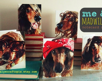 THANK YOU Blank funny dachshund card set