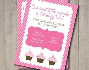 Cupcake Birthday Party Invite - Hot Pink & Light Pink Cupcake Invitation - Digital Printable Invite - Cupcake Invite