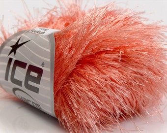 LONG EYELASH light SALMON superbulky chunky 50gr polyester ice yarns usa fancy fur craft rug 1 skein ships from usa at usps cost 13275
