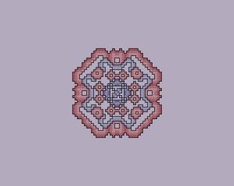 Violet and Mauve Quilt Square 2 cross stitch pattern PDF Digital Download