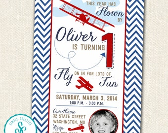 Fly Over For A Birthday Party Invitation - Airplanes, Planes
