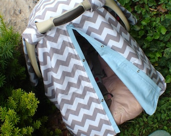 Carseat canopy Grey chevron and baby blue  / carseat cover / car seat cover / car seat canopy / nursing cover