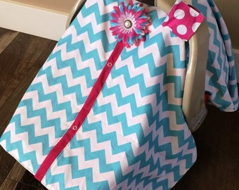 Carseat Canopy Aqua Chevron and Hot Pink  / Car seat cover / car seat canopy / carseat cover / carseat canopy / nursing cover