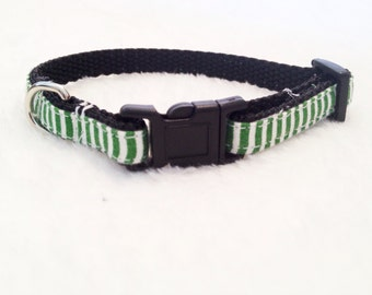 XS-S Dog Collar - Green and White Stripes