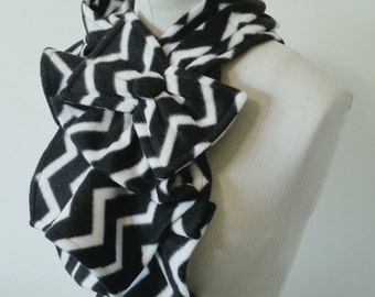 Ruffled Bow Scarf - Fleece chevron print black and white Made-to-order