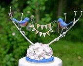 Bluebird Love Birds handmade wedding cake topper