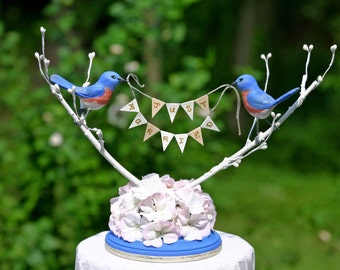 Bluebird Love Birds handmade wedding cake topper