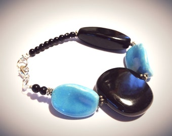 Bracelet - Statement - Turquoise and Black - Porcelain and Vintage Beads