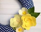Fabric Wreath Felt Handmade Door Decoration - PolkaDots 12in