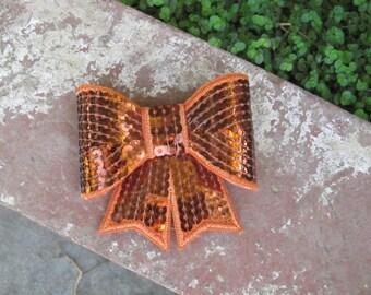Girls Orange Sequin Bow Hair Clip- Ready To Ship- Baby Hair Clip- Toddler Hair Clip- Fall Autumn