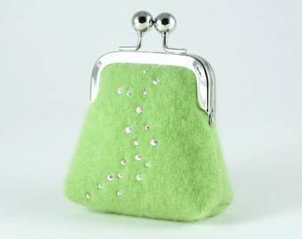 Apple green cashmere coin purse with Swarovski crystals...luxury Valentine gift for her...recycled cashmere...small green floral purse