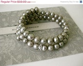 On Sale Soft Taupe Fresh Water Pearl Swarovski Crystal Rondelle Bracelet