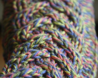 Ready to Ship Hand Knit  Variegated Rainbow Fingerless Gloves with Cable